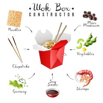 Wok box noodles constructeur