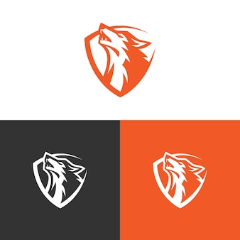 Wolf logo design stock vecteur