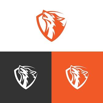 Wolf logo design stock vecteur