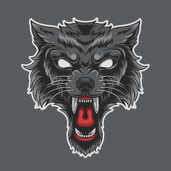 Wolfing wild isolé sur fond gris