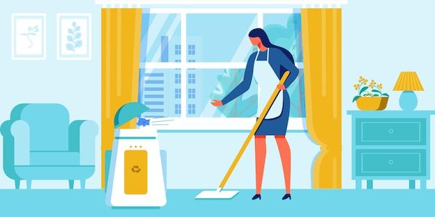 Woman clean home mettez les déchets dans un récipient de recyclage.