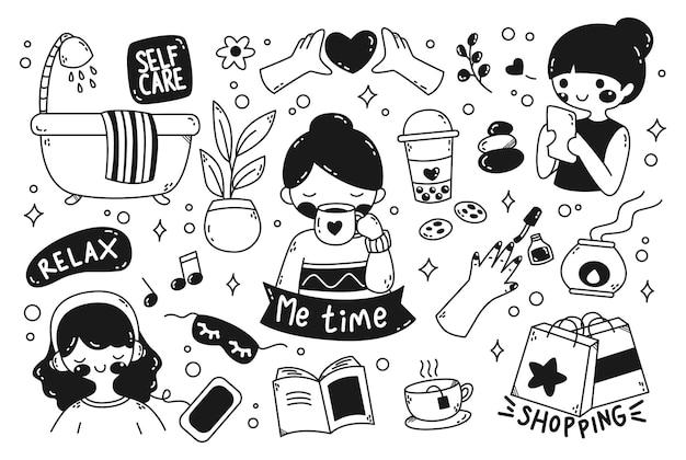 Womans me time concept doodle élément vectoriel