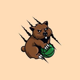 Wombat cartoon logo design illustration vectorielle