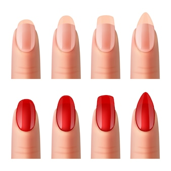 Women nails manucure realistic images set