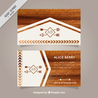 Wooden texture carte de visite