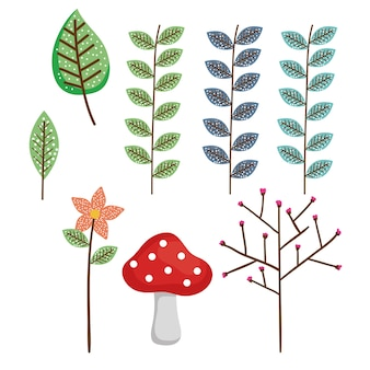 Woodland leafs isolé des icônes