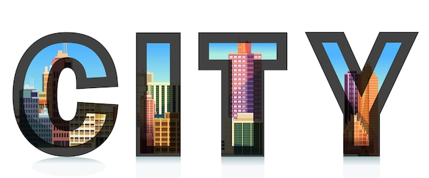Word city avec la ville. illustrations typographiques.