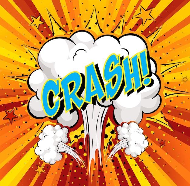 Word crash sur fond d'explosion de nuage comique