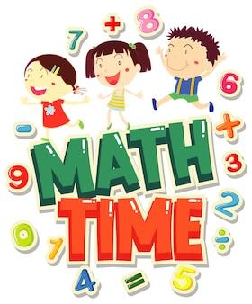 Word for time 4 math avec des enfants heureux