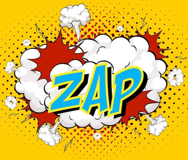 Word zap sur fond d'explosion de nuage comique