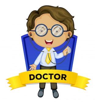 Wordcard d'occupation avec un médecin de sexe masculin