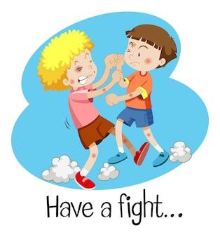 Wordcard pour avoir un combat avec deux garçons qui se battent