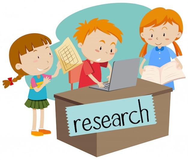 Wordcard pour la recherche avec des enfants travaillant sur ordinateur