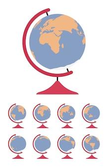 World globe sur le stand et mis en rotation dans différents côtés