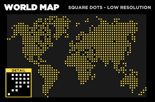 World map square dots basse résolution