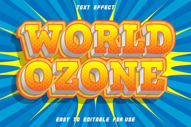 World ozone effet de texte modifiable emboss comic style