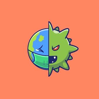 World scare corona virus icon illustration. personnage de dessin animé de mascotte corona. concept d'icône mondiale isolé