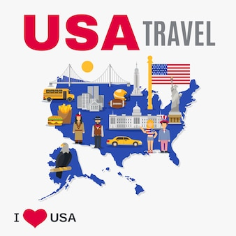 World travel agency etats-unis culture flat poster