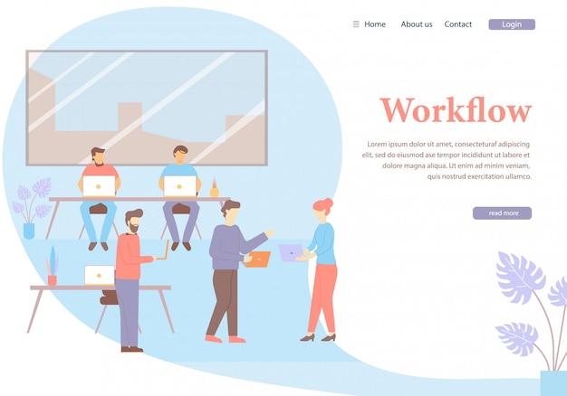 Worlflow cartoon man femme parler réunion travail d'équipe