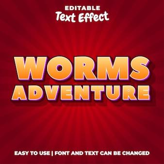 Worm adventures titre du jeu style d'effet de texte modifiable