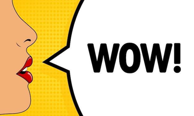 Wow. bouche féminine avec du rouge à lèvres criant. bulle de dialogue avec texte wow. style comique rétro. peut être utilisé pour les affaires, le marketing et la publicité. vecteur eps 10.