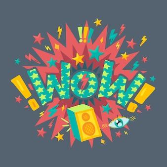 Wow étonnement et vecteur de lettrage d'expression. texte expressif décoré d'explosion avec étoile, musique dynamique et oeil, point d'exclamation et éclair. illustration de dessin animé plat discours