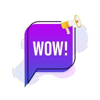 Wow mégaphone. illustration vectorielle plane. annoncer l'offre de promotion. les gens communiquent.