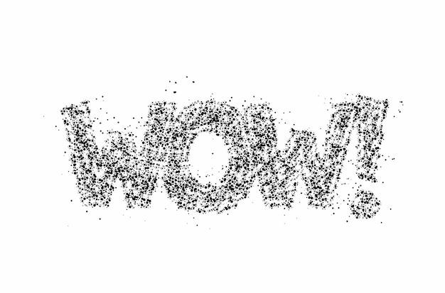 Wow! particule calligraphique plat style texte vector illustration design.