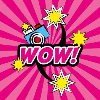 Wow pop art comique caméra étoiles