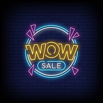 Wow sale neon signs style texte