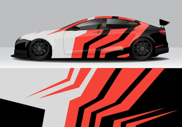 Wrap de voiture de course abstraite sportive moderne, autocollant sticker