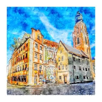 Wroclaw pologne aquarelle croquis dessinés à la main illustration