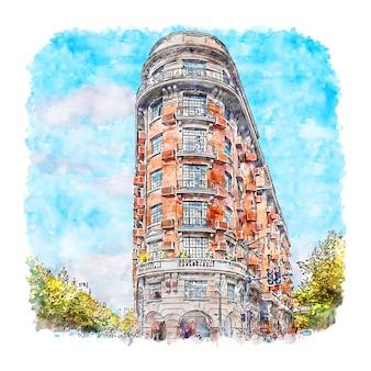 Wukang building shanghai chine aquarelle croquis illustration dessinée à la main