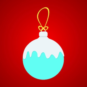 X-ball bleu avec de la neige blanche sur une ficelle jaune. concept de boules de noël neige. boule de noël isolée sur fond rouge. tendance de style plat conception de logo moderne boules de noël vector illustration