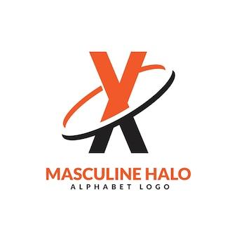 X lettre orange et noir anneau géométrique masculin logo vector illustration icône