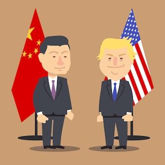 Xi jinping et donald trump debout ensemble