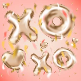 Xoxo et ballons métalliques en forme de cœur et confettis de feuilles
