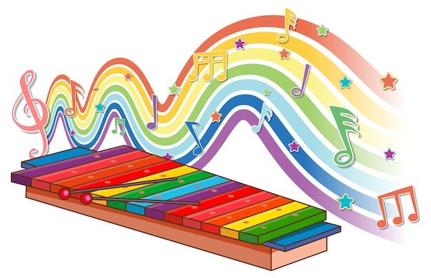 Xylophone avec symboles mélodiques sur la vague arc-en-ciel