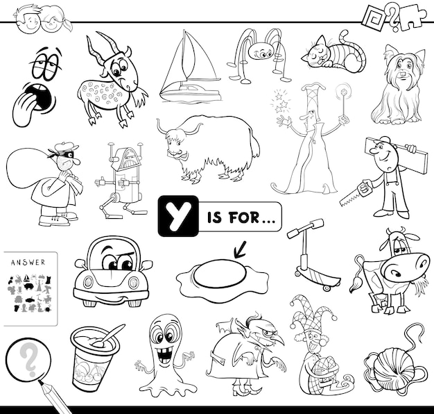 Y est pour le livre de coloriage de jeu éducatif