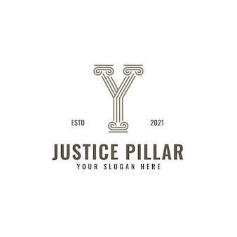Y lettre logo droit et justice pilier élégant gras ligne géométrique art