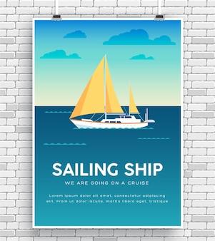 Yacht sur l'affiche d'icône de l'eau sur le mur de briques