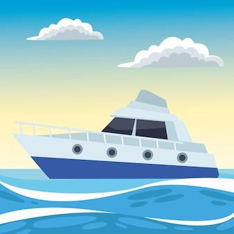 Yacht dans l'océan