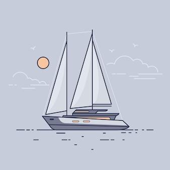Yacht à voile de luxe flottant sur les vagues de la mer