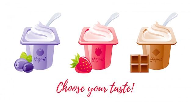 Yaourt aux fruits au lait avec mûre, fraise, chocolat.