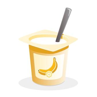Yaourt à la banane avec une cuillère à l'intérieur sur fond blanc