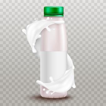 Yaourt réaliste. produits à base de crème sure et de yaourt. etiquette d'emballage 3d. éclaboussure de lait. illustration vectorielle