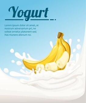 Yaourt à saveur de banane. éclaboussures de lait et fruits de banane. annonces de yaourt au format. illustration sur fond bleu clair. place pour votre texte.