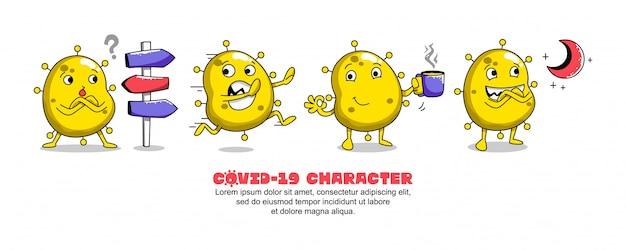 Yellow covid-19. conception d'inspiration de dessin animé de coronavirus. panneau de signalisation, course, café et lune