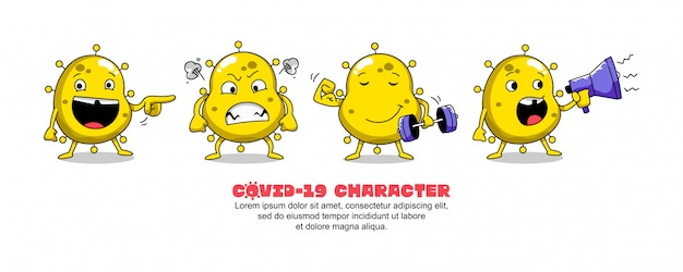 Yellow covid-19. conception d'inspiration de dessin animé de coronavirus. spectacle, en colère, fitness et conférencier