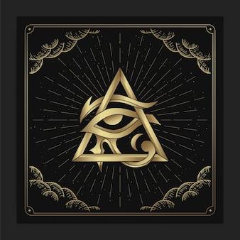 Les yeux de l'ancien dieu égyptien horus avec des décorations de cadre de nuage ésotérique dans un style luxueux